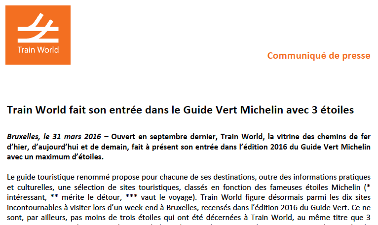 Train World entered the Michelin Green Guide with three stars