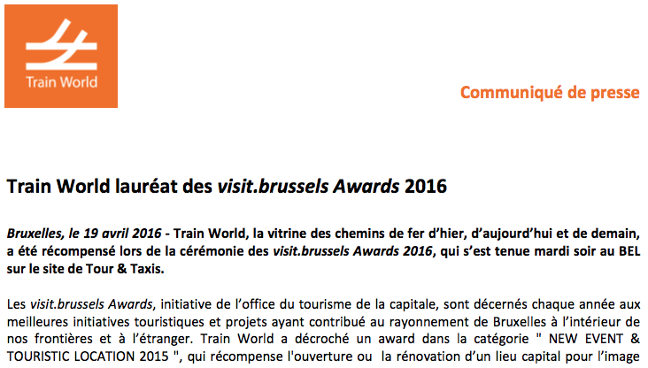 Train World prize winner at visit.brussels Awards 2016